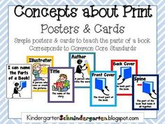 Use these posters to post in your classroom or print them as cards to use during story time. Help your students understand the parts of a book and their roles in a story with these printables! Check out my Kindergarten Blog at KindergartenSchmindergarten.blogspot.com