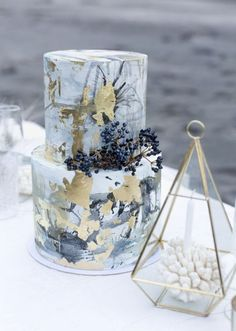 Dusty Blue and Gold Wedding Cake