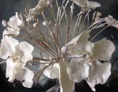 Porcelain and silver Hydrangea head - Caroline Lingwood
