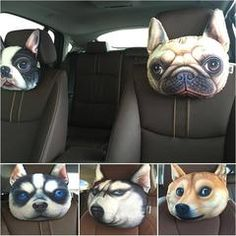 """3D Printed Dog Face Car Headrest Pillows $39.99- $18.97Dog Face Car Headrest PillowsThese are hilarious and comfortable! A dog lovers must have!We ship with a USPS tracking number. Shipping takes between two and four weeksClick the green """"Add To Cart""""button now! Limited Quantity - Will sell out fast!*** CHOOSE YOUR STYLE IN DROP DOWN MENU ***Note: Please allow 2-4 weeks for delivery."""