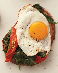 Egg and Roasted Red Pepper Sandwich. Whole wheat toast, baby spinach, 1 egg, red pepper, and garlic