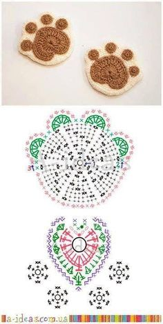 Crochet coasters paws FREE pattern by winnie Chat Crochet, Crochet Diy, Crochet Amigurumi, Crochet Mandala, Crochet Motif, Crochet Doilies, Crochet Flowers, Crochet Patterns, Crochet Coaster Pattern