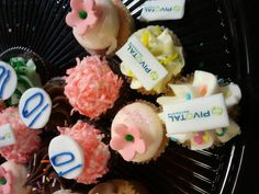 A close up of the mini birthday cup cakes! This is cupcake branding at its best... Go Pivotal. http://www.pivotalpayments.com/