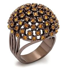 Chocolate Gold Plated Deco Cocktail Ring Brown Peach Cubic Zirconia Size 8 9 10 #Unbranded #Cocktail