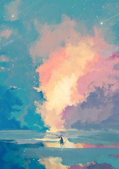 New Painting Sky Fantasy 52 Ideas Fantasy Landscape, Landscape Art, Fantasy Kunst, Fantasy Art, Anime Kunst, Anime Art, Creation Art, Scenery Wallpaper, Jolie Photo