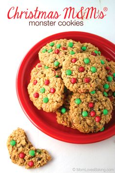Christmas M&M's® Monster Cookies are gluten free and made with butter, peanut butter, sugar, Instant Quaker Oats, chocolate chips & of course, M&M's® Holiday Baking Minis. #ad #MemoriesInTheBaking