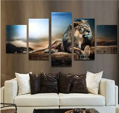 5PCS Frameless Canvas Print Sitting Lion Wall Art Painting Picture Home Decoration  Exquisite workmanship and exquisite appearance. Can be used installed on the wall at your living room, bedroom and study room. Always make your house more fashion and delicate.  Specifications: Material: Canvas Size: 2 Pieces for 60cm x 41cm  2 Pieces for 70cm x 41cm  1 Piece for 90cm x 41cm  Package Included: 5Pcs x Canvas Painting(without Frame) Several Tools