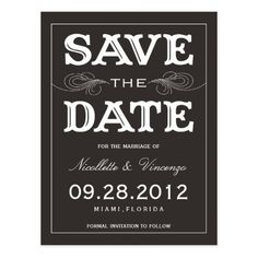 Vintage Wedding Save the Date BLACK VINTAGE | SAVE THE DATE ANNOUNCEMENT POSTCARD