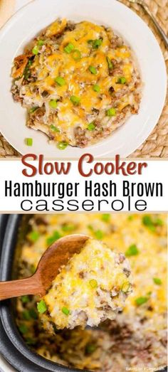 Crock Pot Hamburger Hashbrown Casserole Recipe is so simple to make and creamy and delicious. Make this easy meal for a dinner your family will love. Slow Cooker Hamburger Hash, Hamburger Crockpot Recipes, Slow Cooker Ground Beef, Ground Beef Recipes, Slow Cooker Recipes, Crock Pot Hamburger, Crockpot Meals, Easy Hamburger Meals, Crockpot Dishes