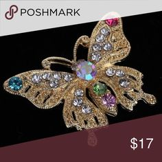 Butterfly 🦋 Crystal Rhinestone Brooch Pin Gold Plated Butterfly 🦋 Style Crystal Rhinestone Brooch Pin. Alloy and Crystal.  2.8cm by 3.5cm. Modern Vintage Jewelry Brooches