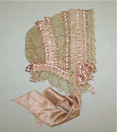 silk ribbon and lace antique baby bonnet ... c. 1880-1900