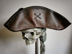 Brown Leather Pirate Tricorn Hat by pirateswife on Etsy, £85.00