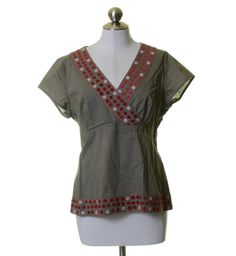 Boden Taupe Red Embroidered Surplice Cotton Beaded Blouse Size 14
