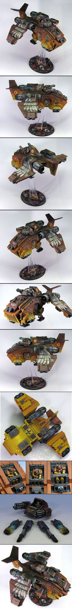 Angels Solaris Storm Raven gunship: wargear: nose/dorsal-turret twin-linked heavy-bolters/assault-cannons; 2x2 underwing bloodstrike-missiles.