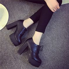 Autumn-and-winter-women-039-s-singles-shoes-with-high-heeled-shoes-with-high-heels