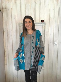 Here we go again Top Up to Turquise Gray Stripes Boho Gray Stripes, New Love, Boho Fashion, My Design, Upcycle, Tights, Feminine, Pullover, Clothing