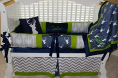 Custom baby bedding 6 pc set woodland, deer, forest, lodge Navy and lime and grey chevron on Etsy, $455.00