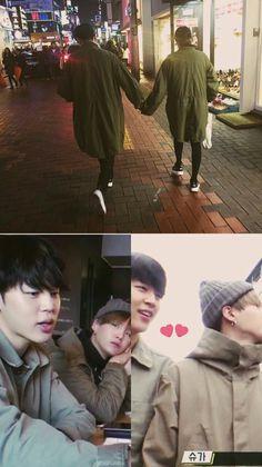 Jimin and Suga 😀 Bts Jimin, Bts Bangtan Boy, Yoongi Bts, Jikook, Bts Memes, K Pop, Yoonmin Fanart, K Wallpaper, Les Bts