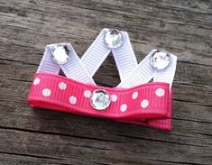 Pink and White Polka Dotted Princess Crown Ribbon by leilei1202, $3.50