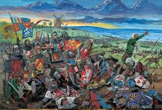 English King Edward III with Edward the Black Prince, Earl of Northampton and Sir John Chandos on the battlefield of Crecy, Hundred Years War Edward The Black Prince, 14th Century, Warfare, Knight, Painting, Toolbox, Soldiers, Britain, Knights