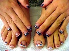 Patriotic nails and toes :) - NailArts Toe Nail Art, Toe Nails, Acrylic Nails, Nail Ink, Pastel Nails, Feet Nail Design, Patriotic Nails, Flag Nails, Red Nail Designs