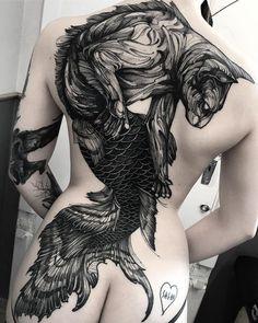 Mermaid cat tattoo on back by @fredao_oliveira