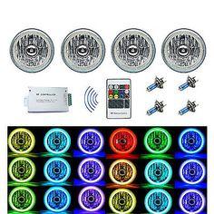 5-3//4 Bluetooth Cell Phone SMD Color Change Halo Angel Eye LED 6k Headlights Set
