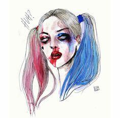 Harley Quinn - Art Illustration By  @lucasbavid Source Instagram  #HarleyQuinn #DcVillian #DC