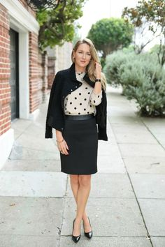 polka dots blouse with pencil skirt