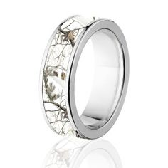 White Camo Engagement Ring And Silver Band Titanium Ring Set With Cubic  Zirconia | White Camo, Titanium Ring And Camo