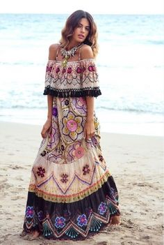 49f4353dccea Oneself Gypsy Pattern Print Tassel Maxi Dress