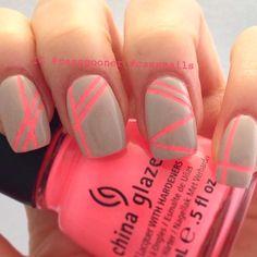 @hairandnailfashion grey with pink stripes
