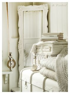 White & Faded  Vintage Chest, mirror, linens