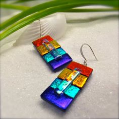 Color block earrings dichroic glass fused glass jewelry