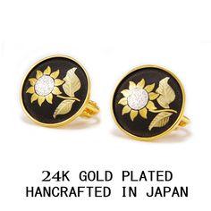 SUNFLOWER 3 MICRON 24 K GOLD PLATED SCREW LOCK EARRINGS MADE IN JAPAN #AMITA #Stud