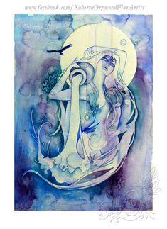 Wassermann Sternzeichen Göttin / Carrier Wasser / Luft Elementar / Heilige Geometrie / Sternzeichen / Astrologie ~ Kunstdruck von Roberta Orpwood