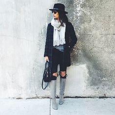 grey boots & tartan coat, winter style
