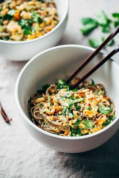 Chopped Chicken Sesame Noodle Bowls - loaded with veggies, chicken, cilantro, and a homemade sesame-peanut sauce. So good! | pinchofyum.com