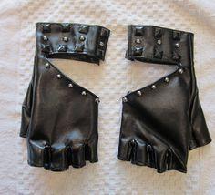 Leather fingerless gloves.