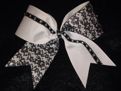 Lace Cheer Bow. Black & White with Rhinestones. DIY