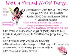 Want to Earn Some FREE AVON! Virtual Avon Party.  To set your up email me at www.youravon.com/dbauleke