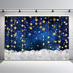 Mocsicka Twinkle Twinkle Little Star Backdrop Glitter Gold Star Galaxy Starry Sky Photography Background Newborn Baby Children Portrait Backdrops Photo Studio Props Birthday Room Decorations, Diy Party Decorations, Janmashtami Decoration, Birthday Party Background, Baby Shower Deco, Star Baby Showers, Twinkle Twinkle Little Star, Background For Photography, Backdrops