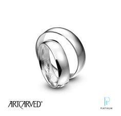 The Knot Platinum Must-Have! Art Carved Dome platinum wedding bands.