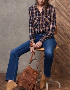 Crepe check print shirt - SHIRTS - WOMAN   Stradivarius Maroc