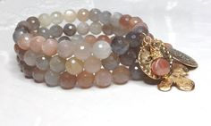 Multi Colored Moonstone Stretch Beaded Gemstone Bracelets, Bohemian Gold Pewter Charm Stack Layering Beaded Bracelets, Grey Peach Bracelets #etsy  #etsyretwt