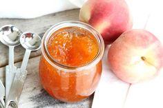 White Peach Cinnamon Jam: 7 cups fresh peaches, peeled and chopped, 1 tbsp vanilla extract, 1 tsp cinnamon, 11/4 cups sugar, 3 tbsp low sugar pectin.