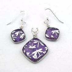 Wire Wrapped Purple Dichroic Glass with Silver Dragonflies Pendant and Earring Set by ClassyJewelryShop on Etsy https://www.etsy.com/listing/198790543/wire-wrapped-purple-dichroic-glass-with