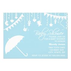 Shop Pastel blue umbrella baby shower invitation created by PeachyPrints. Umbrella Baby Shower, Baby Shower Bunting, Party Bunting, Shower Baby, Custom Invitations, Baby Shower Invitations, Invitation Cards, Blue Umbrella, Pastel Blue