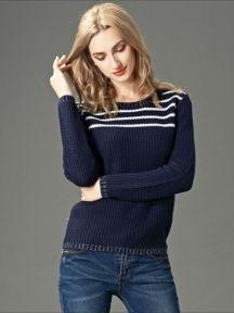 Dark Blue Fashion Round Neck Wave Striped Knitted Sweater