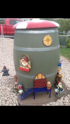 Gnome home created from a wine barrel.